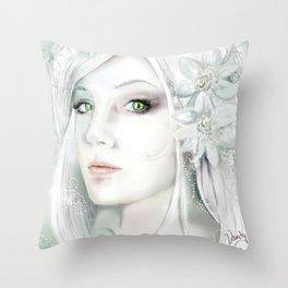 Snow Lady - Soft Pastel Portrait Throw Pillow
