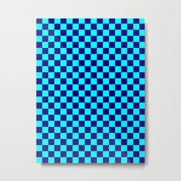 Cyan and Navy Blue Checkerboard Metal Print