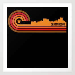 Retro Style Chattanooga Tennessee Skyline Art Print