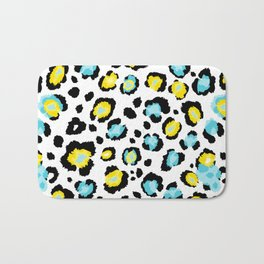 Blue and Yellow Leopard Print Bath Mat