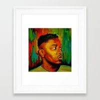 kendrick lamar Framed Art Prints featuring Kendrick Lamar by Molly Forster