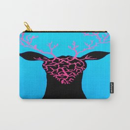 Unique and Trippy Deer Head Painting on Canvas Carry-All Pouch