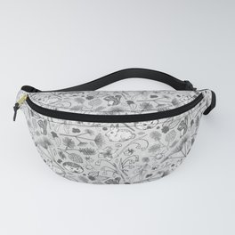 Winter Woodland Creatures in Black & White Fanny Pack