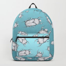 White Marble Beetle on Blue Background Backpack