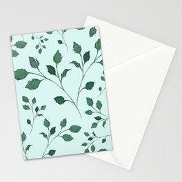 Light Cyan Soft Mint Green Leaves Greenery Pattern Modern Décor Stationery Cards