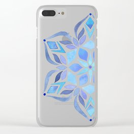 Blue Snowflake Clear iPhone Case