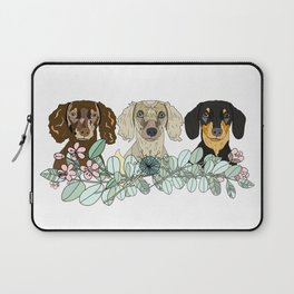 Triple Dachshunds Floral Laptop Sleeve