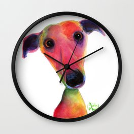 Nosey Dog Whippet Greyhound ' BERTA ' by Shirley MacArthur Wall Clock