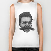 nietzsche Biker Tanks featuring Super Mustache by Zach Wheeler