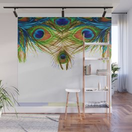 GORGEOUS BLUE-GREEN PEACOCK FEATHERS ART Wall Mural