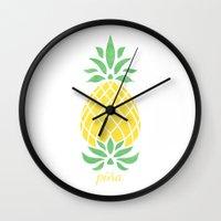 pineapple Wall Clocks featuring Pineapple by Jacqueline Maldonado