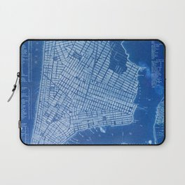 New York antique map, blue old maps, usa maps Laptop Sleeve