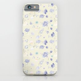 Pastel Watercolor Flowers on yellow background iPhone Case