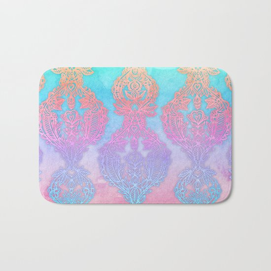 The Ups and Downs of Rainbow Doodles Bath Mat