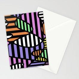 Crazy Curvy Pastel Stripes Stationery Cards