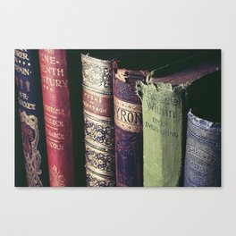 Vintage low light photography of books Canvas Print