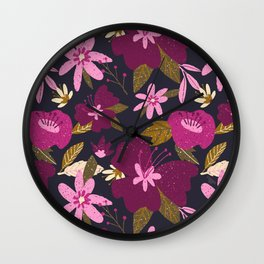 forest floral in pinks Wall Clock