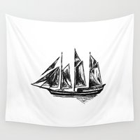 ship Wall Tapestries featuring Ship by LeahOwen