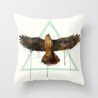 falcon Throw Pillows featuring Falcon by Amy Hamilton
