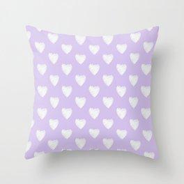 white hearts on violet Throw Pillow