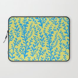 Yellow and Blue Floral Leaves Gouache Pattern Laptop Sleeve