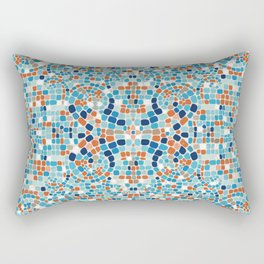 Aqua and Terra Cotta Mosaic Rectangular Pillow