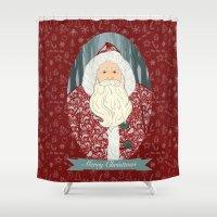 santa Shower Curtains featuring Santa by Beesants