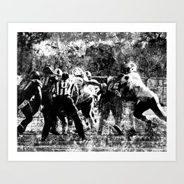 College Football Art, Black And White Art Print