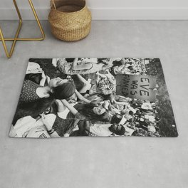 Eve Was Framed Black and White Women's Movement photograph Rug