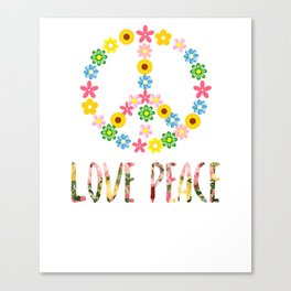 Peace Sign Love 60s 70s Hippie Costume graphic Canvas Print