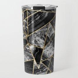 Black White Agate Black Gold Geometric Triangles Travel Mug
