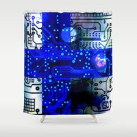 finland Shower Curtains featuring circuit board Finland by seb mcnulty