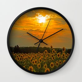 Field of Sunflowers at Sunset Wall Clock
