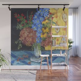 Mixed Flowers on Blue  Wall Mural