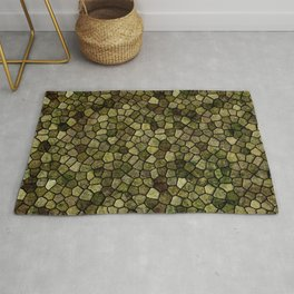 Seaweed and Juniper Cobbled Patchwork Terrazo Pattern Rug