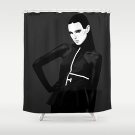 black & little white Shower Curtain