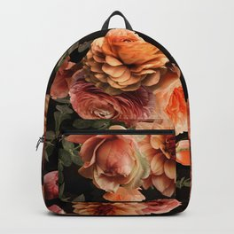 Vintage & Shabby Chic- Real Peach Fall FLowers Lush Midnight Botanical Garden Backpack