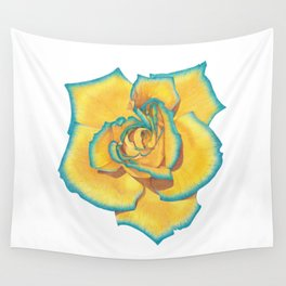 Yellow and Turquoise Rose Wall Tapestry