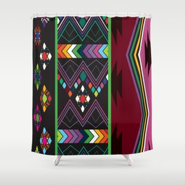 Aztec Central America Inspired Modern Geometric Design Shower Curtain