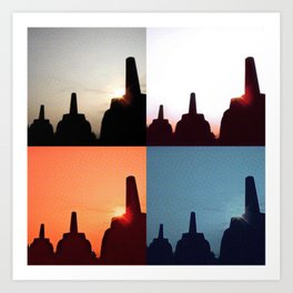 Borobudur - Sunrise and sunset Art Print