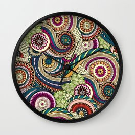 Abstract doodle floral pattern Wall Clock