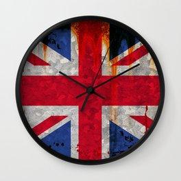 Paint splattered Union flag Wall Clock