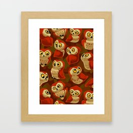 Northern Saw-whet owls pattern. Framed Art Print