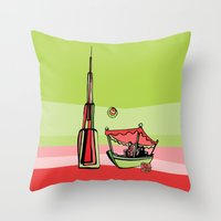 wiz khalifa Throw Pillows featuring Abra by the Burj Khalifa by Dubai Doodles