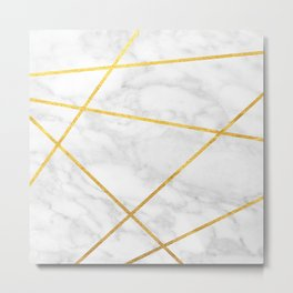 White Carrara marble with Gold Lines Metal Print