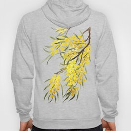 Godlen wattle flower watercolor Hoody