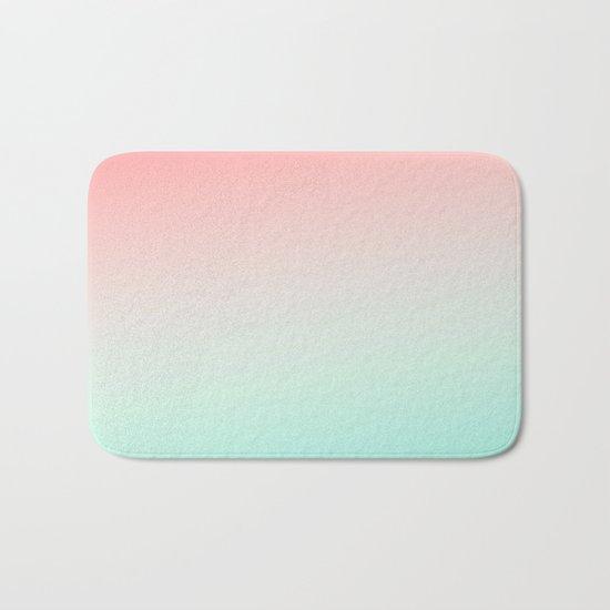 Ombre gradient digital illustration coral green colors Bath Mat