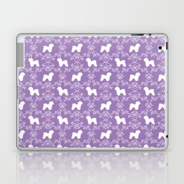 Bichon Frise dog florals silhouette lilac and white minimal pet art dog breeds silhouettes Laptop & iPad Skin