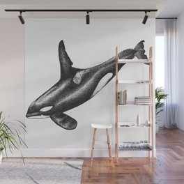 Orca killer whale ink art Wall Mural