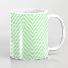 Large Mint Green & White Herringbone Pattern Coffee Mug
